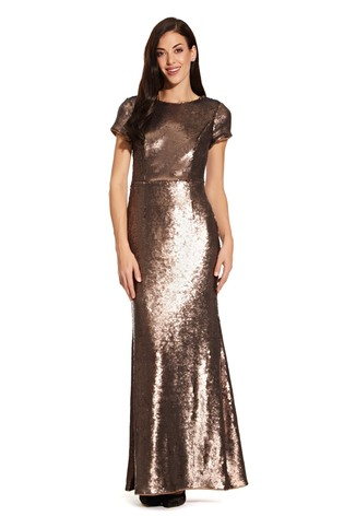 Adrianna Papell Brown Sequin Mermaid Gown