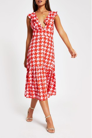 reputable site online retailer clearance sale River Island Pink Dogtooth Annecy Midi Dress