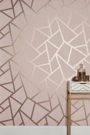 Papier Peint Forme Geometrique.Paste The Wall Blush Metallic Geo Wallpaper