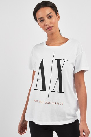wholesale sales look out for sells Armani Exchange White Icon Logo T-Shirt