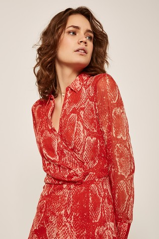 9f7a909f4f11 ... Červené košeľové šaty Mint Velvet s kvetinovou potlačou a uzlom ...