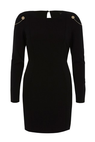 Buy River Island Black Long Sleeve Metal Detail Bodycon Dress From