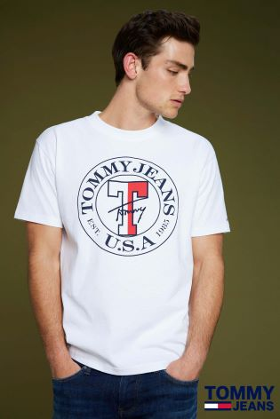 0c578ceb45 Buy Tommy Jeans White Circle Logo T-Shirt from Next Ireland
