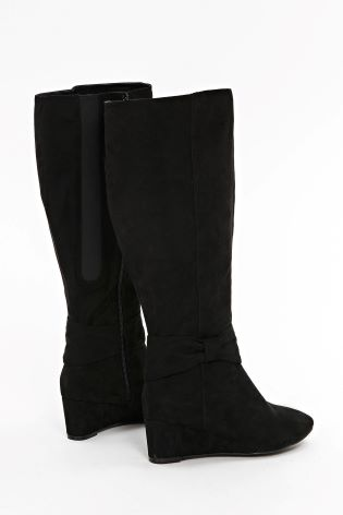 78644851230f Buy Evans Black Extra Wide Fit Bow Detail Wedge Long Boot from Next ...