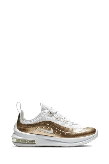brand new 4ca10 a9af5 Nike White Gold Air Max Axis Junior ...