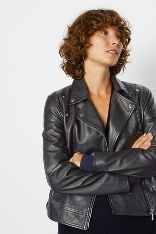 63c1fffdc83 Buy Jigsaw Black Clean Leather Biker Jacket from the Next UK online shop