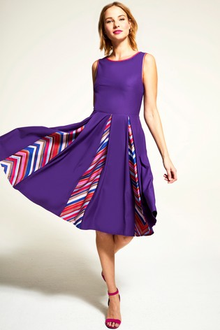 ebdc5cad5403 Buy HotSquash Purple Box Pleat Contrast Midi Dress from the Next UK ...