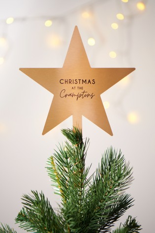 Christmas Tree Topper.Personalised Gold Star Tree Topper By Oakdene Designs