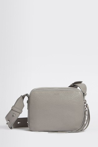 popular brand new collection wholesale sales AllSaints Grey Vincent Grained Leather Cross Body Bag