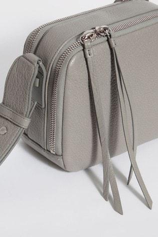 d78c25056b7 AllSaints Grey Vincent Grained Leather Cross Body Bag