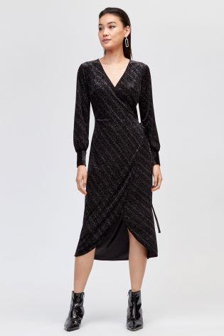 56032622512 Buy Warehouse Black Glitter Velvet Wrap Dress from Next Ireland