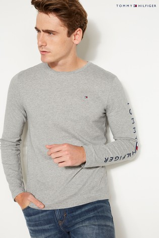 Buy Tommy Hilfiger Grey Logo Long Sleeved Tee from Next Slovakia 6a9dbb24bb3
