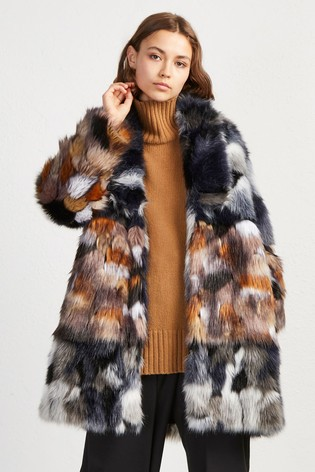 Buy French Connection Blue Faux Fur Coat From The Next Uk Online Shop