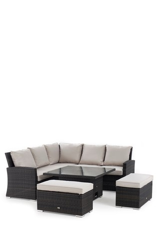 05c9d18d9c Brown Weave with Cream Cushions Monaco Slim Living And Dining Table Garden  Set