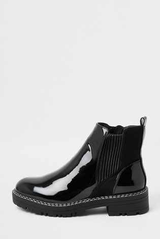 River Island Black Chunky Chelsea Boots