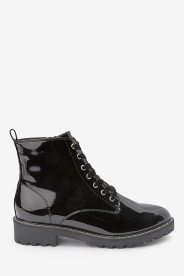 Cleat Sole Lace-Up Ankle Boots from the