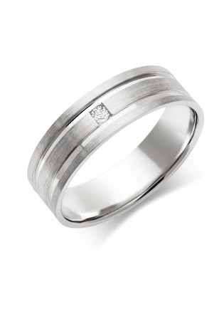 Buy Beaverbrooks Mens 9ct White Gold Diamond Wedding Ring From Next