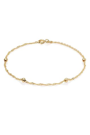Beaverbrooks 9ct Gold Bead And Chain Bracelet