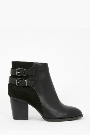 usa cheap sale newest collection temperament shoes Buy Evans Extra Wide Fit Black Buckle Heeled Ankle Boots from the ...