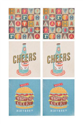 Set Of 6 Mens Birthday Cards