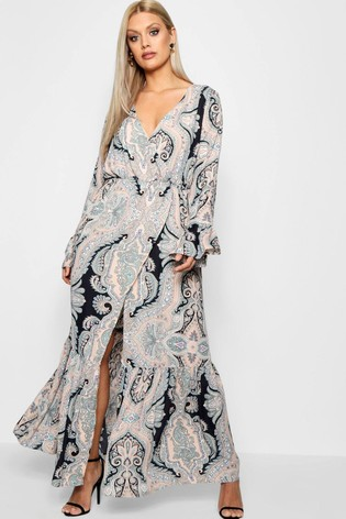 new lifestyle many styles shop for authentic Boohoo Curve Paisley Wrap Maxi Dress