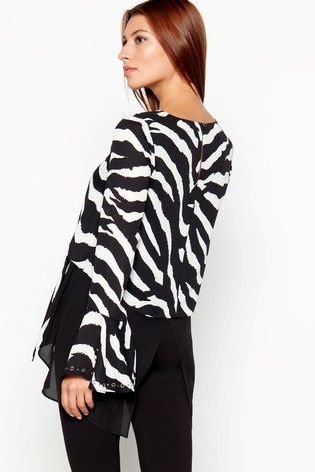 Buy Star By Julien Macdonald Tulip Sleeve Zebra Top from the Next UK ... 035ce3785