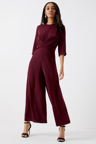 7970c56694b Buy Boohoo Petite 3 4 Sleeve Wide Leg Twist Front Jumpsuit from the ...