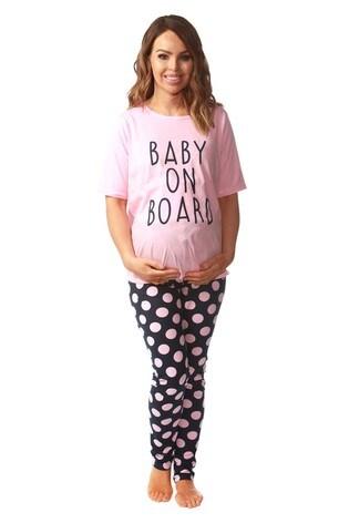 e6f9aa43765ffd Want That Trend Maternity 'Baby On Board' Pyjama Set