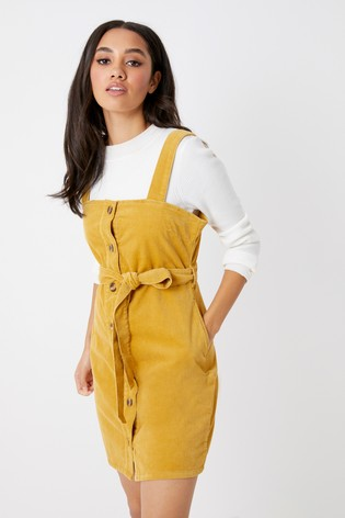 4ae94c35856 Buy Boohoo Cord Belted Button Through Pinafore Dress from Next Ireland