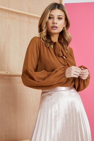 Mela London Pussy Bow Fluted Sleeve Blouse