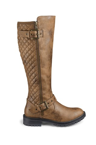 ee56e85155267 Buy Simply Be Wide Fit Quilted Buckle Detail Biker Boots from the ...