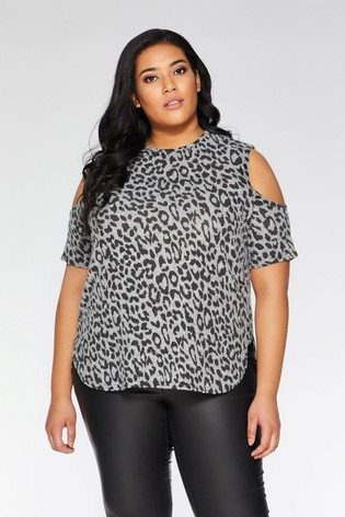 72d408cb5c8276 Buy Quiz Leopard Print Cold Shoulder Top from Next Malta