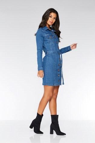 1d154c2f9e Buy Quiz Denim Tie Belt Dress from the Next UK online shop