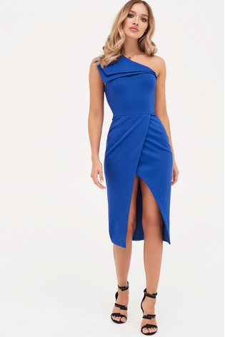 Buy Lavish Alice Double Layer One Shoulder Wrap Midi Dress from the ... a9513c80e