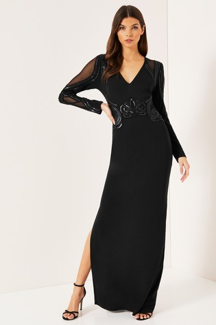 2d5b30abf7bf Buy Lipsy Cornelli Matte Sequin Long Sleeve Maxi Dress from the Next ...