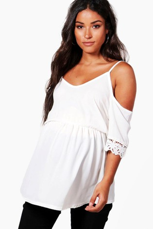 d94b205ec93440 Buy Boohoo Maternity Cold Shoulder Lace Sleeve Top from the Next UK ...