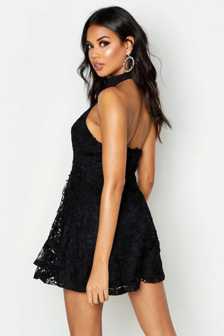 f85402bd781 Buy Boohoo Premium Lace High Neck Skater Dress from the Next UK ...