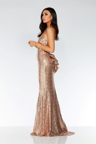 f7ca0844e4f Buy Quiz Sequin Cross-Over Back Bow Ruffle Maxi Dress from the Next ...
