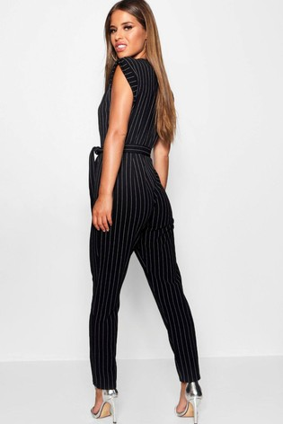383fc12b21a2 Buy Boohoo Petite Pinstripe Wrap Over Jumpsuit from the Next UK ...