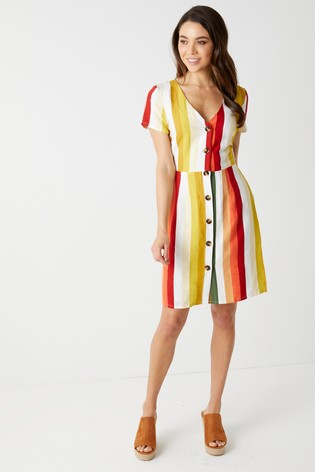 8b4b7fd4ae4 Buy Glamorous Stripe Button Front Linen Blend Dress from the Next UK ...