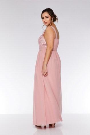 e1132aa7cea79 ... Quiz Curve Chiffon Embellished High Neck Sweetheart Maxi Dress ...