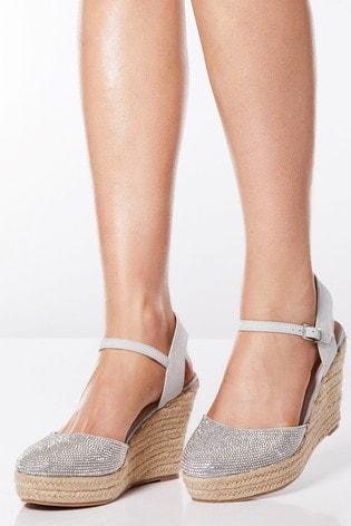 Quiz Diamante Espadrille Wedge Sandals