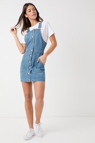 452235d3ab6 Buy Boohoo Button Through Denim Pinafore Dress from Next Ireland