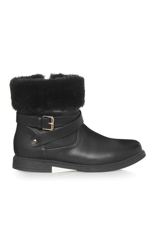 online retailer hot sale online online here Buy Lipsy Girl Buckle Faux Fur Trim Ankle Boot from the Next UK ...