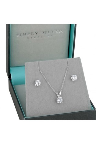 Simply Silver Round Cubic Zirconia Necklace Earring Set In A Gift Box