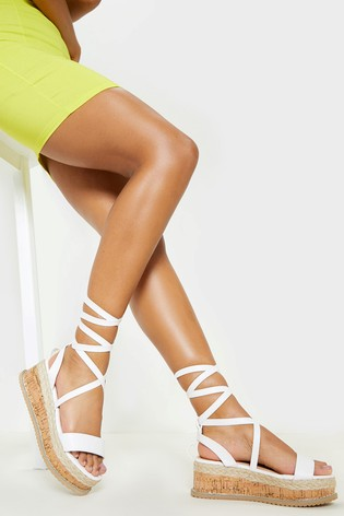 8e2cf67a9 Buy PrettyLittleThing Tie Leg Platform Espadrilles Sandals from the ...
