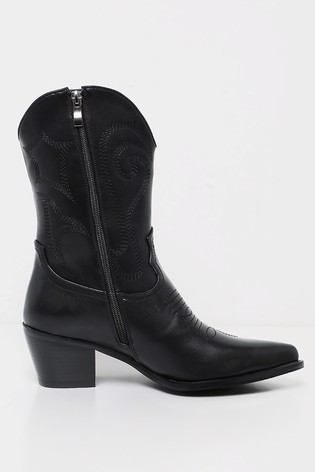903e30cffef PrettyLittleThing Stitch Detail Western Calf Boot