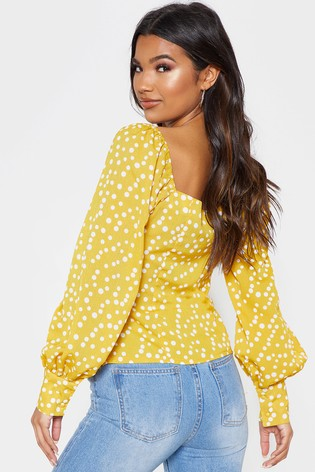 ba0c16650d15 Buy PrettyLittleThing Polka Dot Square Neck Blouse from the Next UK ...
