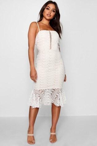 Boohoo Flippy Hem Midi Lace Dress