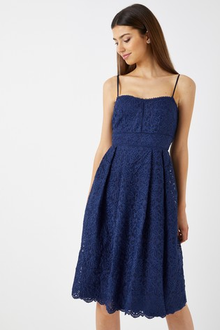 534ceba23f28 Buy Boohoo Boutique Embroidered Strappy Midi Skater Dress from Next ...